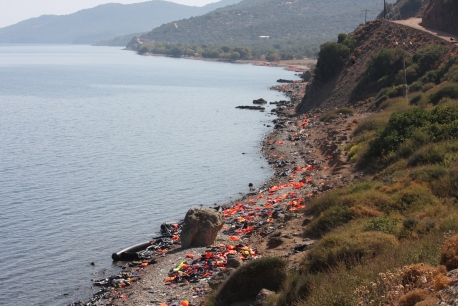 A beach on Lesvos' east coast