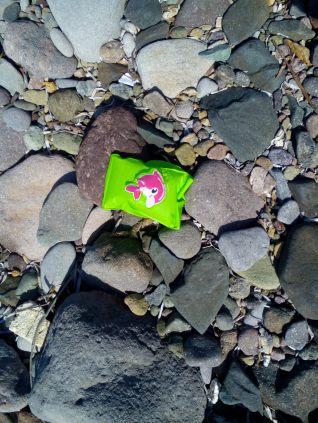 A child's armband on a beach near Eftalou.