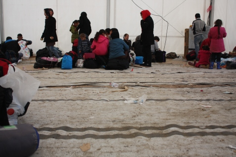 Inside one of the UNHCR tents