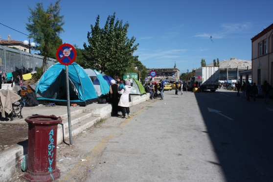 Tents at Mytilene port